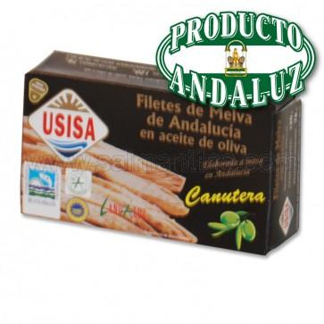 FILETES DE MELVA CANUTERA DE ANDALUCIA EN ACEITE DE OLIVA USISA 120 GR.