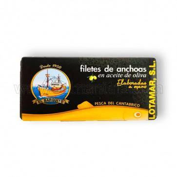 FILETES DE ANCHOAS EN ACEITE DE OLIVA EL BARQUITO LOTAMAR. 50 GR