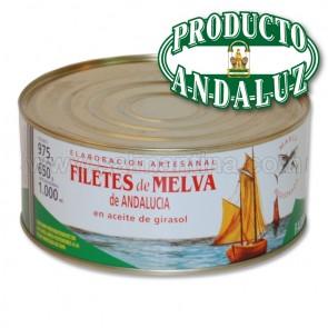 FILETES DE MELVA CANUTERA DE ANDALUCIA EN ACEITE DE GIRASOL LA TARIFEÑA 975 GR.