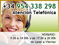 Atención telefónica en +34 954338298. De lunes a viernes de 9:00 a 14:00 y de 17:30 a 20:30
